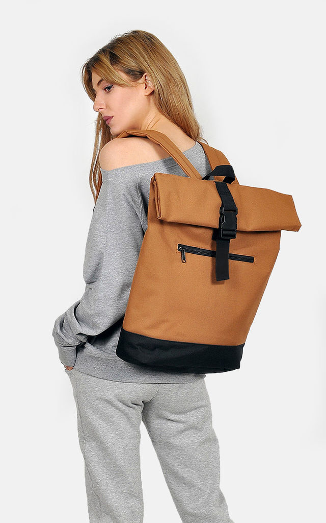 Camel Roll Top Laptop Backpack by The Left Bank