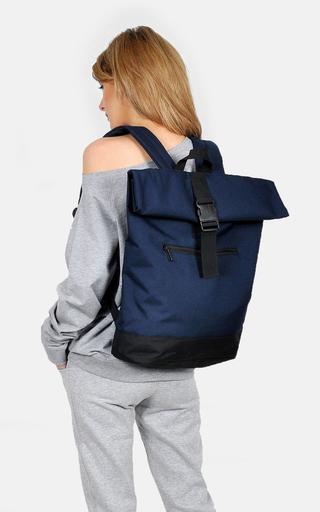 Navy Roll Top Laptop Backpack by The Left Bank