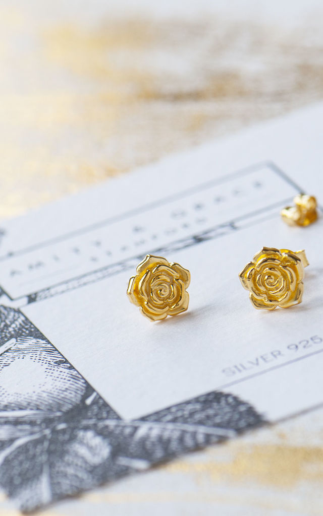 Gold Rose Stud Earrings by Grace and Valour