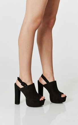 Black Faux Suede Peep Toe Slingback Heels by Truffle Collection Product photo