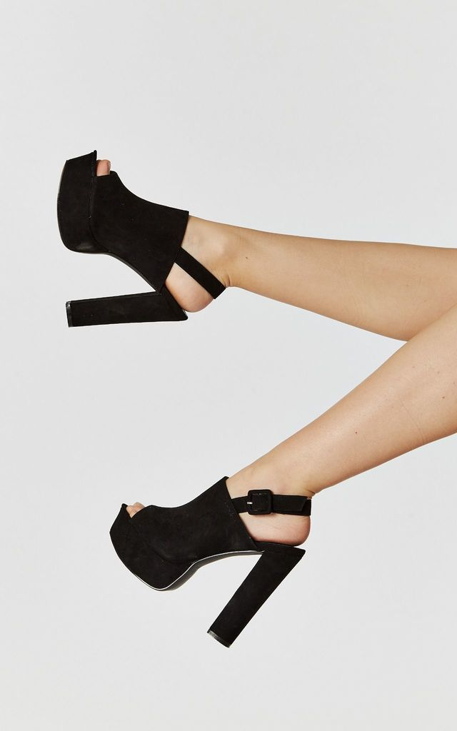 Black Faux Suede Peep Toe Slingback Heels by Truffle Collection