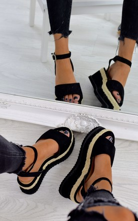 Braided Espadrille Wedge Sandals - Black Suede by AJ | VOYAGE