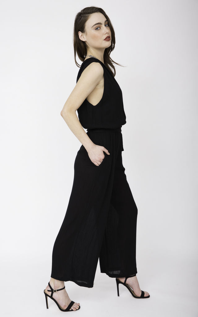 Wrap Front Soft Crinkle Jumpsuit Black by likemary