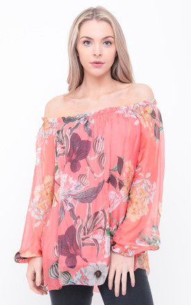CORAL OVERSIZED FLORAL BARDOT TOP by Aftershock London