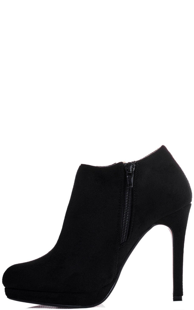 DAINTY HEART Platform High Heel Stiletto Ankle Boots Shoes - Black Suede Style by SpyLoveBuy