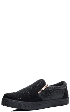 MAKE MY DAY Diamante Flat Slip On Trainers - Black Suede Style by SpyLoveBuy