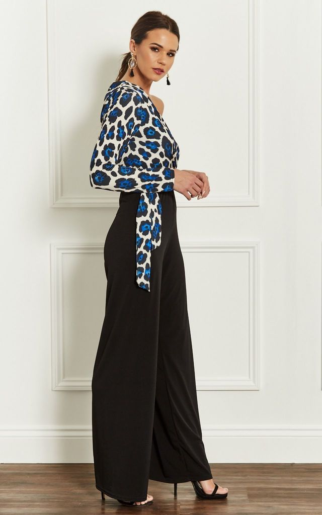 One Shoulder Jumpsuit With Blue Leopard Top by John Zack