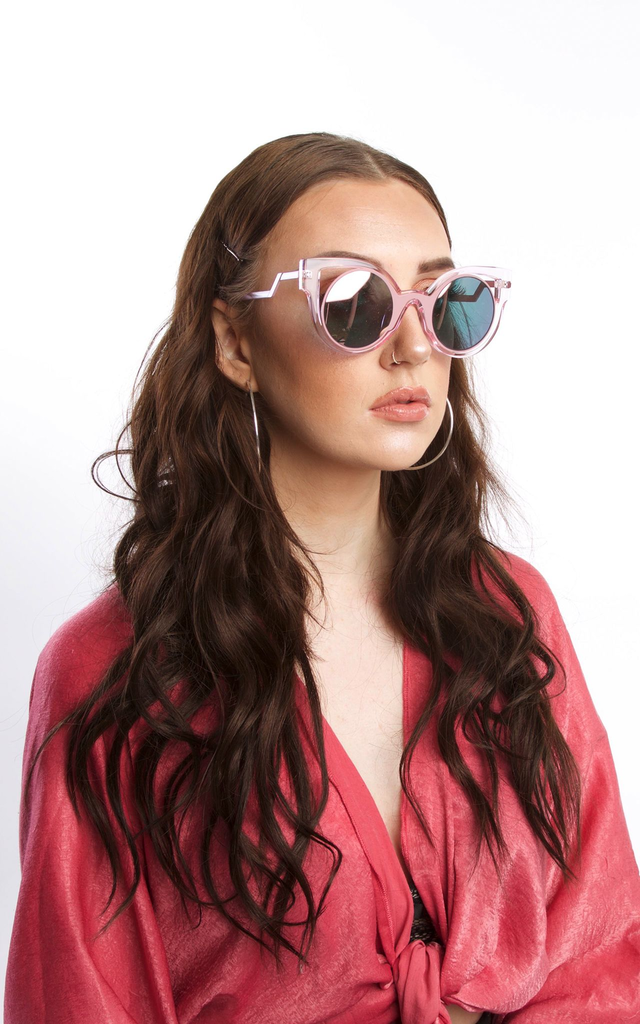 Pink Transparent Sunglasses With Round Mirrored Lens by SVNX