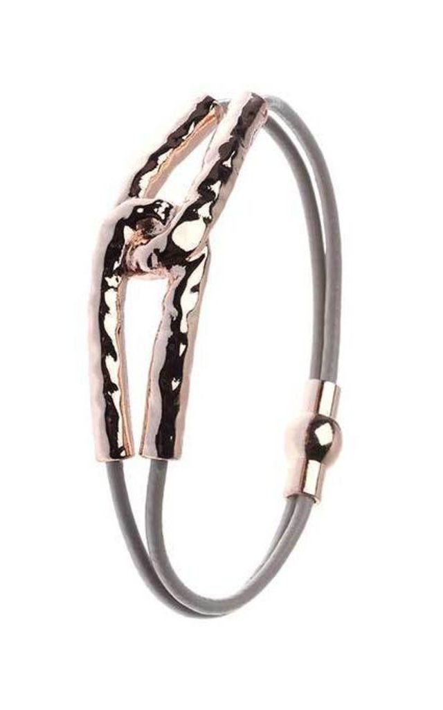 Rose Gold Double Loop Leather Bracelet by Nautical and Nice Ltd