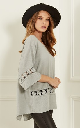Stone oversized crochet detail top by Bella and Blue