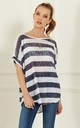 White and Navy Stripe Oversize Tee With Sequin Shoulder Detail by Bella and Blue