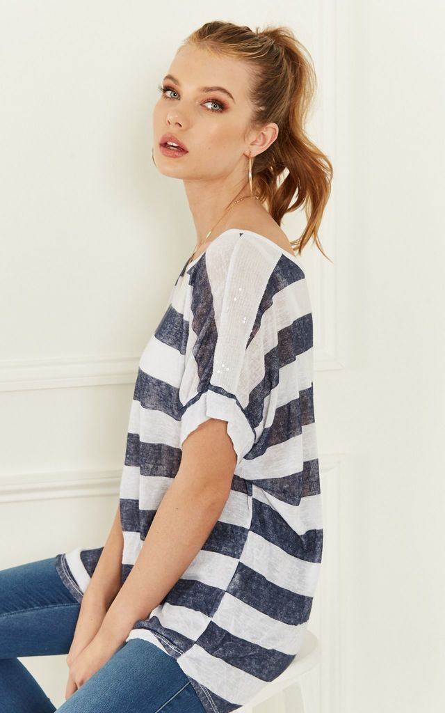 White and Navy Stripe Oversize Tee With Sequin Shoulder Detail by Lilah Rose