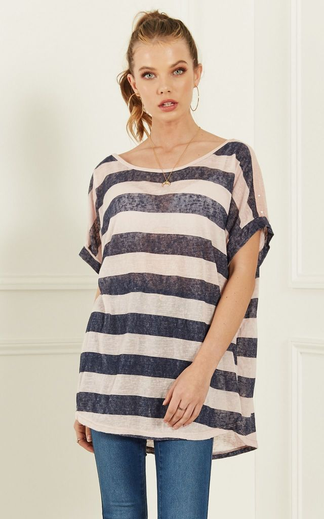 Rose And Navy Stripe Oversize Tee With Sequin Shoulder Detail by Lilah Rose