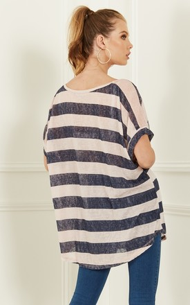 Rose And Navy Stripe Oversize Tee With Sequin Shoulder Detail by Bella and Blue