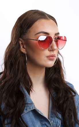 Heart Shape Sunglasses with Pink Lens by SVNX