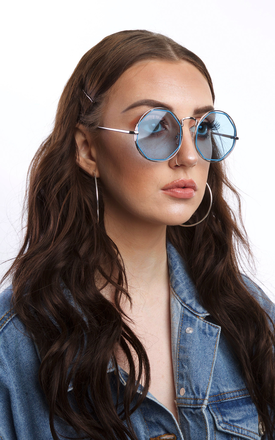 Silver Round Sunglasses With Octagon Blue Lense by SVNX
