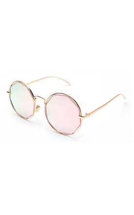 Silver Round Sunglasses With Octagon Pink Lens by Accessory O