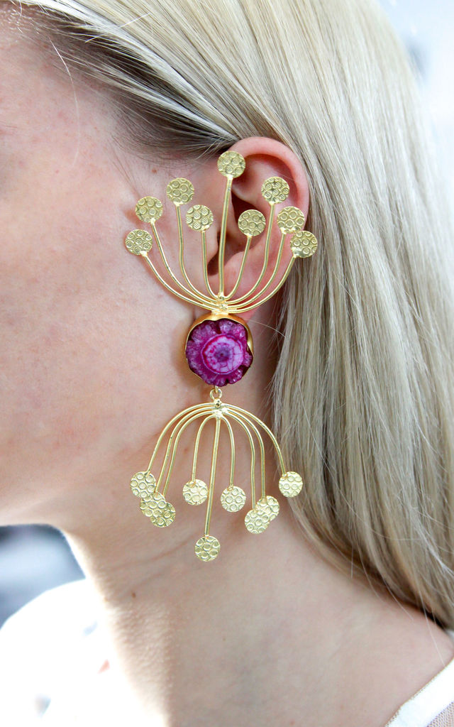 Purple Flower Oversized Statement Earrings by Free Spirits