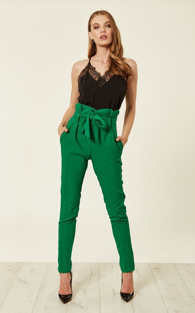 Green Paperbag High Waist Tie Trousers by ANGELEYE