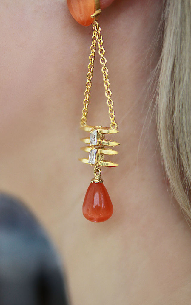 Orange Stone Raindrop Statement Earrings- Gold Finished by Free Spirits
