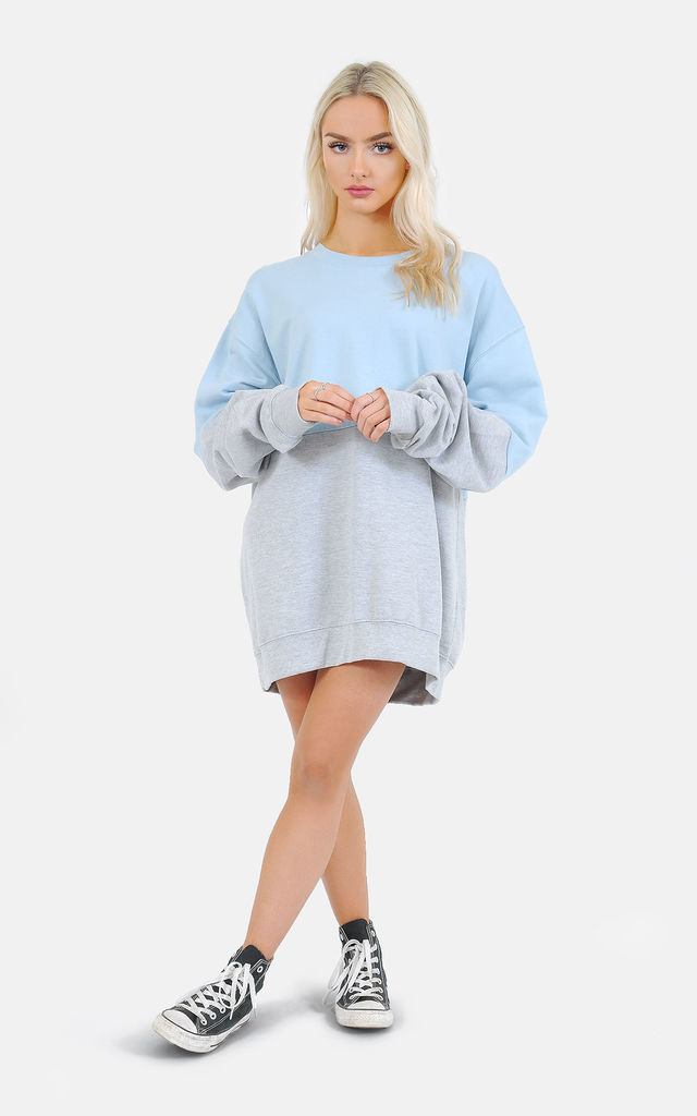 Half Blue And Grey Oversized Jumper Dress | The Left Bank | SilkFred
