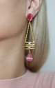Pink Stone Raindrop Statement Earrings- Gold Finished by Free Spirits