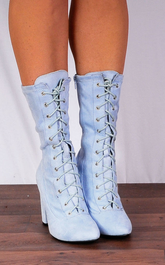 Light Blue Lace Ups Stretch Sock Pull On Ankle High Heels Boots by Shoe Closet