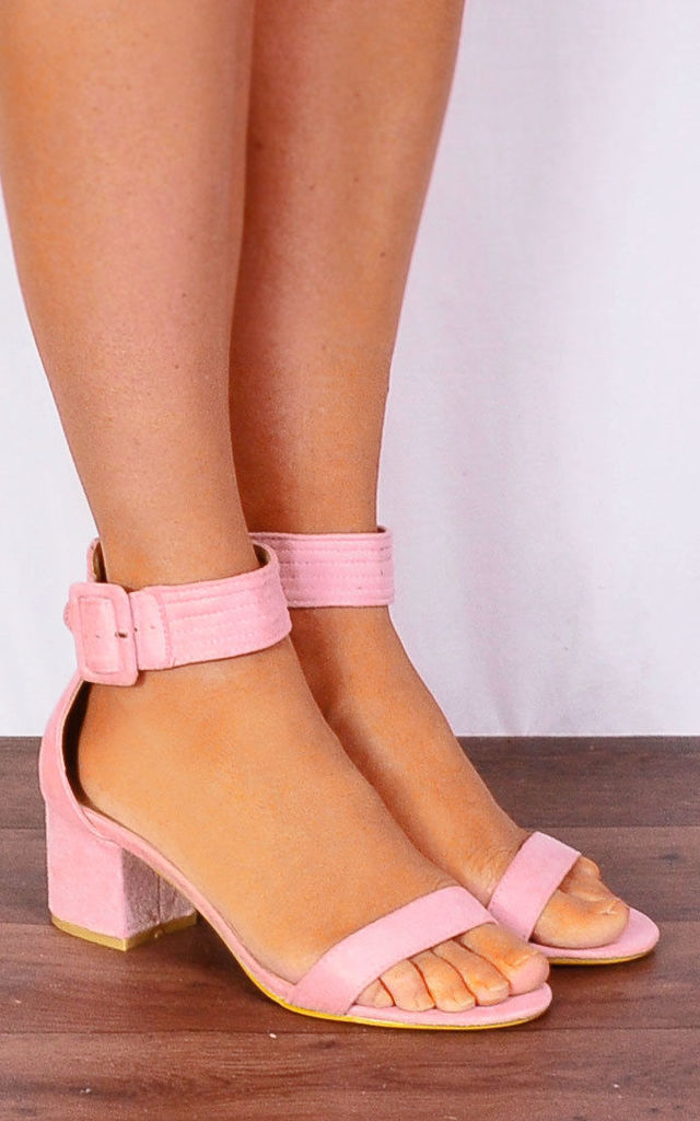 Ladies Light Pink Low Heeled Ankle Strap peep Toes Strappy Sandals Heels by Shoe Closet
