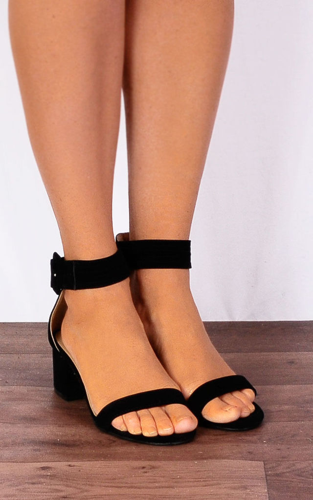30171165247 Black Low Heeled Ankle Strap Peep Toes Strappy Sandals Heels By Shoe Closet