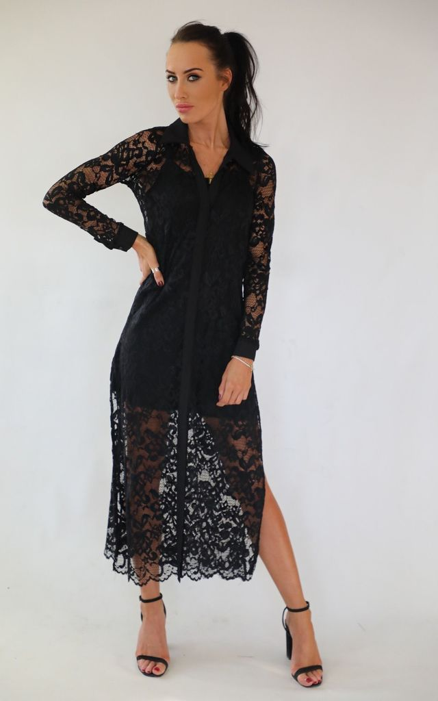 Layla Lace Maxi Shirt by Wired Angel