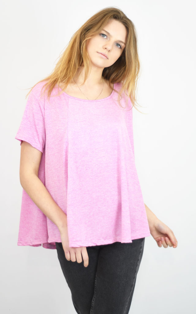 HOT PINK HALF CIRCLE FLARED TOP SUPER LOOSE FIT by Lucy Sparks
