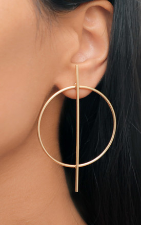 Large Gold Circle Stick Earrings by Rani & Co. Product photo