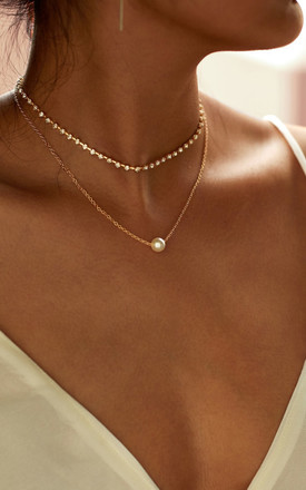 Pearl Layered Choker Necklace Gold by HAUS OF DECK