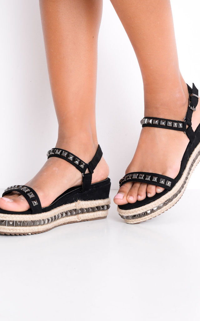 Studded Strappy Wedge Platform Espadrille Sandals Black by LILY LULU FASHION