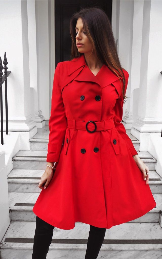 Aviana Red Double Breasted Trench Coat by Faux England