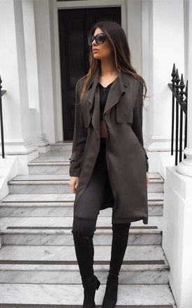 Alesia Khaki Soft Duster Coat by Faux England