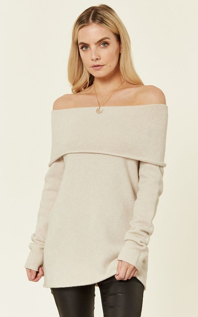 Cream Off Shoulder Jumper by ANGELEYE