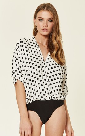 Polka Dot Batwing Wrap Front Bodysuit by ANGELEYE