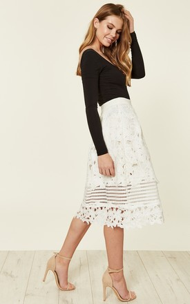 White Crochet Floral Skirt by ANGELEYE
