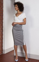 Gray pencil midi skirt with stripes by Lanti