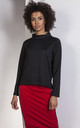 Black trapeze sweatshirt with a stand-up collar by Lanti