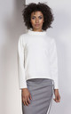 High neck long sleeve top in white by Lanti