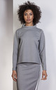 Gray trapeze sweatshirt with a stand-up collar by Lanti