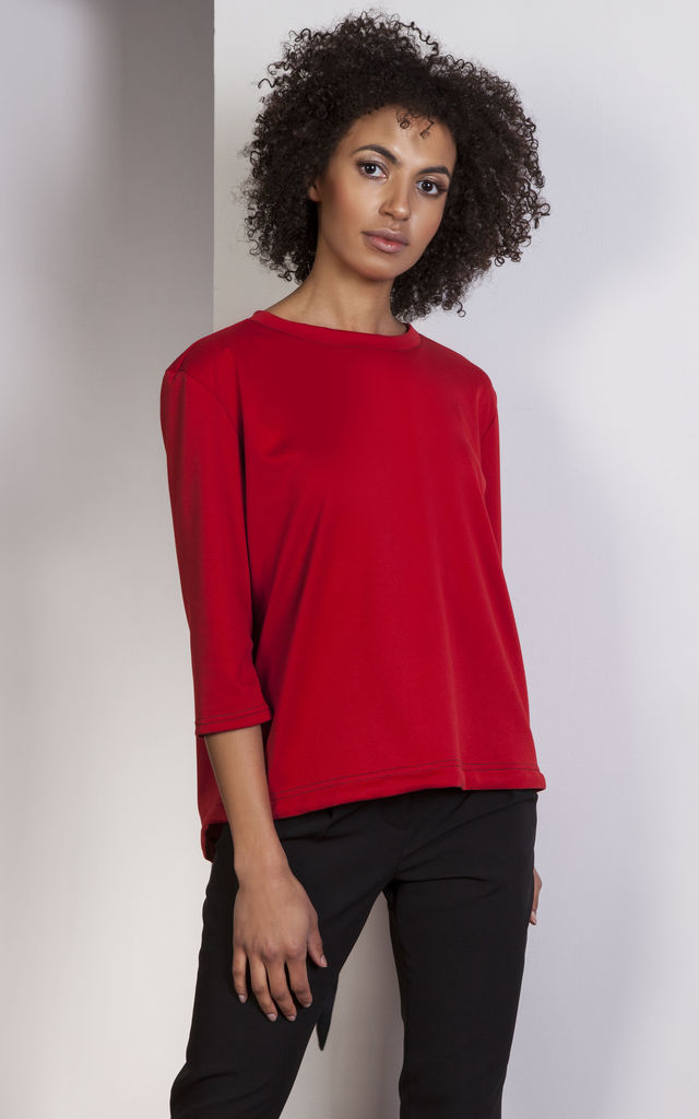 Red loose blouse – tailcoat style by Lanti