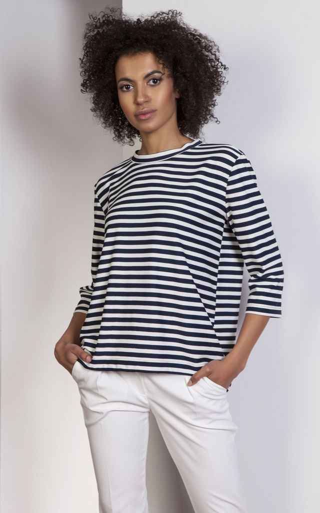 Stripes  loose blouse – tailcoat style by Lanti