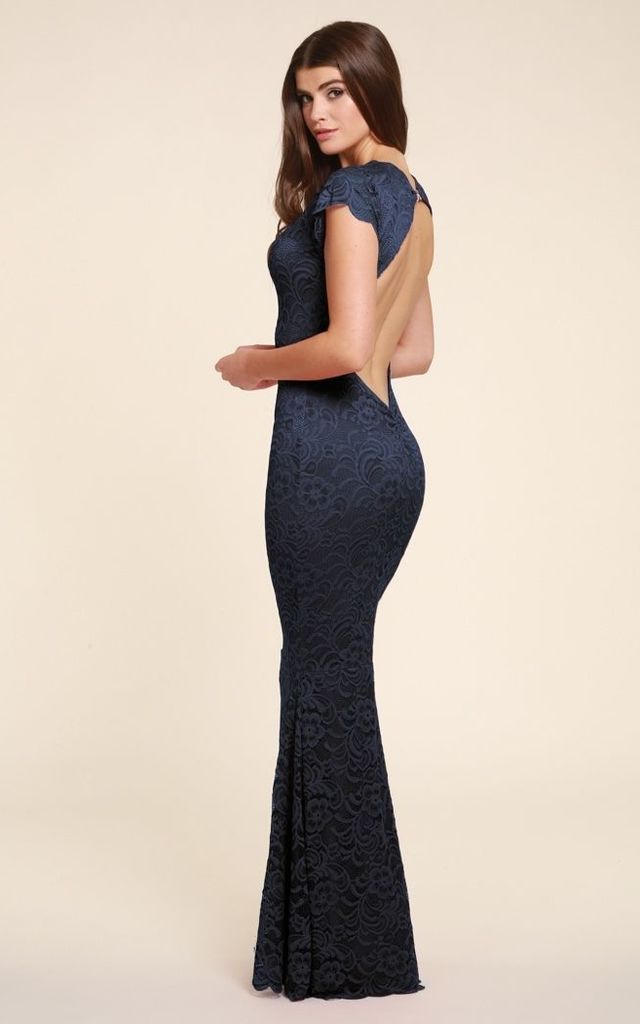 Faye Navy Lace Maxi Dress by Honor Gold
