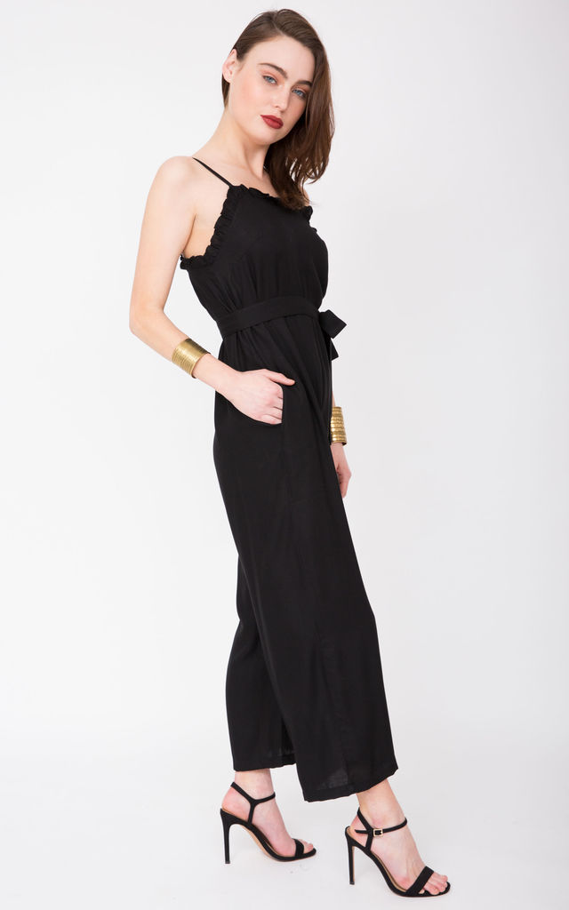 Ruffle Wide Leg Jumpsuit Black by likemary