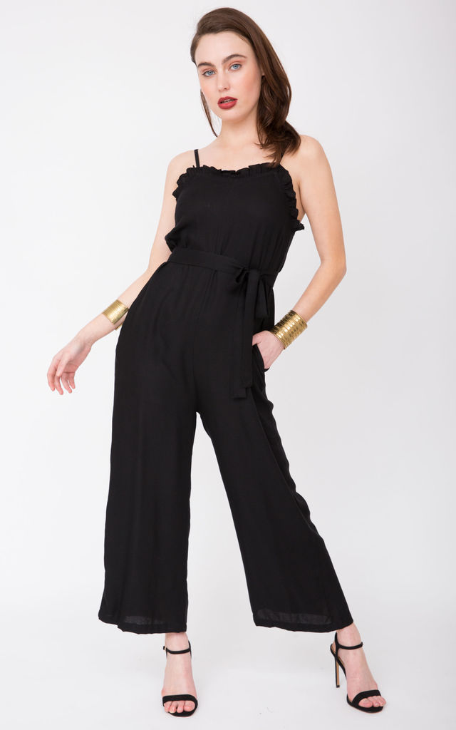 303653bf7eaf Ruffle Wide Leg Jumpsuit Black | likemary | SilkFred