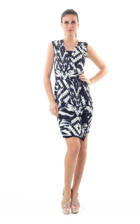 Print Dress with Uneven Hemline by Conquista Fashion
