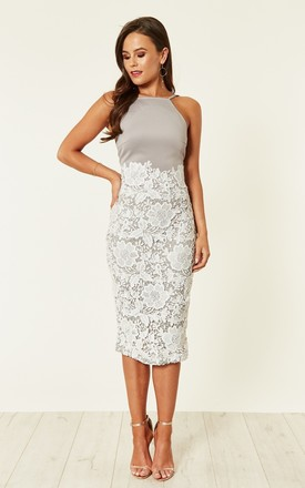 Tammy Lace Midi Dress Grey/White by Girl In Mind